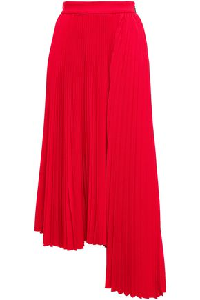 MSGM Asymmetric pleated crepe midi skirt