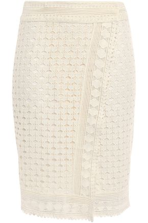 BA&SH Cold crocheted cotton wrap pencil skirt