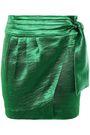 BA&SH Cobalt crinkled-satin mini wrap skirt