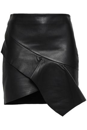 BA&SH Lauren wrap-effect draped leather mini skirt