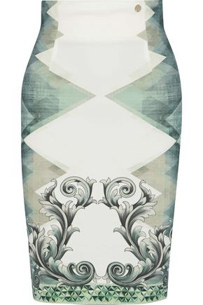VERSACE COLLECTION Printed stretch-crepe pencil skirt