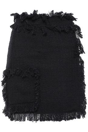 MSGM Frayed cotton-blend tweed mini skirt