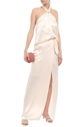 ISOLDA Knotted silk-satin maxi skirt