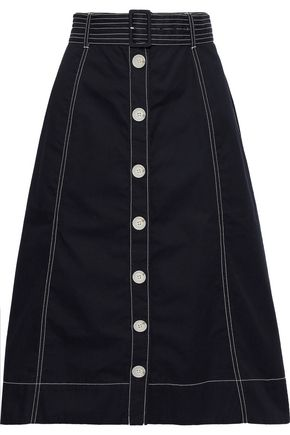 JOIE Mayaly flared belted cotton-twill skirt