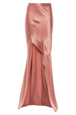 MICHELLE MASON Asymmetric silk-satin maxi skirt