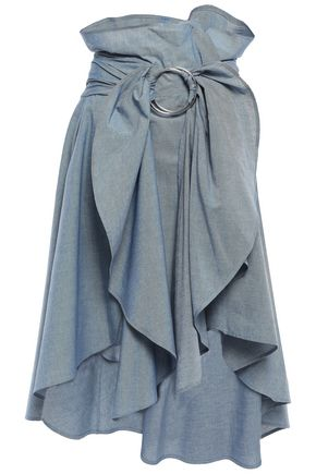 FAITH CONNEXION Asymmetric ruffled chambray midi skirt