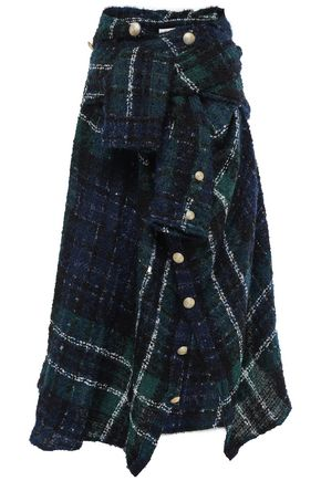 FAITH CONNEXION Button-embellished checked bouclé-tweed midi skirt