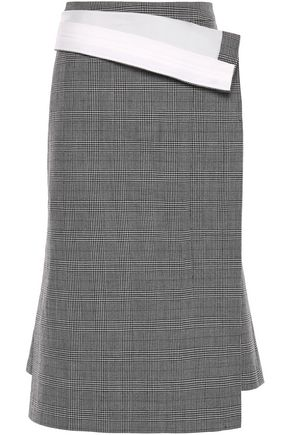 PUSHBUTTON Fold-over Prince of Wales checked wool midi skirt