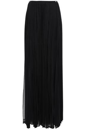 VERSUS VERSACE Pleated silk-blend georgette maxi skirt