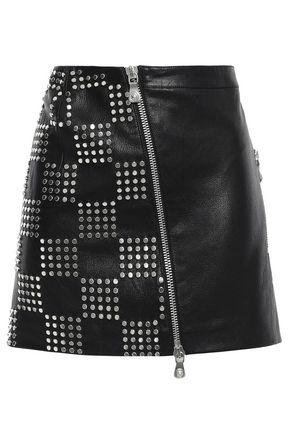 VERSUS VERSACE Studded textured-leather mini skirt