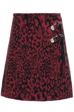 VERSUS VERSACE Wrap-effect embellished leopard-print crepe mini skirt