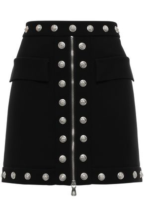 VERSUS VERSACE Button-embellished zip-detailed crepe mini skirt