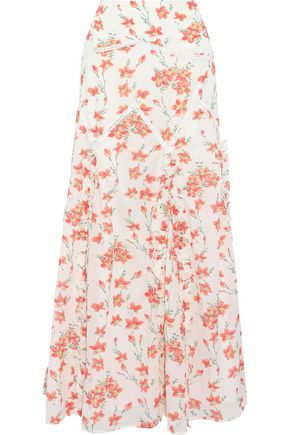 LOVE SAM Ruffle-trimmed floral-print cotton-blend maxi skirt