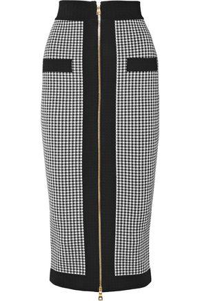 BALMAIN Houndstooth stretch-knit midi pencil skirt