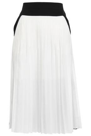 GIVENCHY Two-tone pleated silk-blend midi skirt