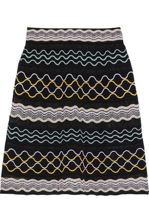 M MISSONI Embroidered crochet-knit cotton-blend skirt