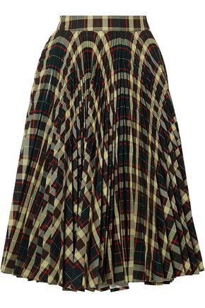 CALVIN KLEIN 205W39NYC Pleated checked twill skirt