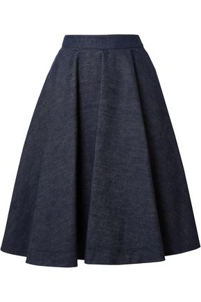 CALVIN KLEIN 205W39NYC Flared pleated denim skirt