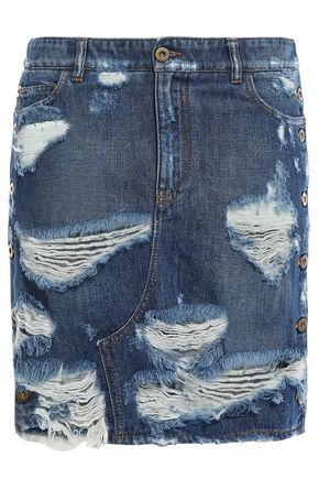 FAITH CONNEXION Distressed denim mini skirt