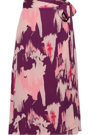 IRIS & INK Lotta printed crepe de chine midi wrap skirt