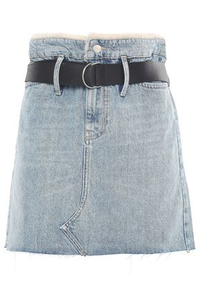 IRO Shearling-paneled distressed denim mini skirt