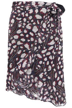 IRO Lingo asymmetric leopard-print crepe wrap skirt
