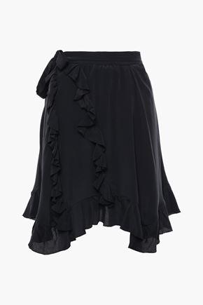 IRO Wispy asymmetric ruffled crepe de chine skirt