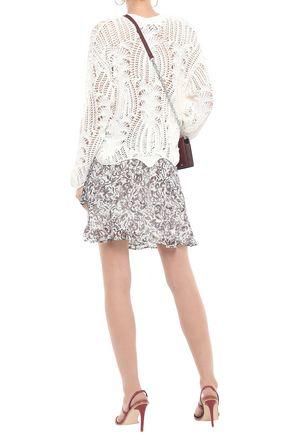 IRO Wrap-effect printed crepe mini skirt