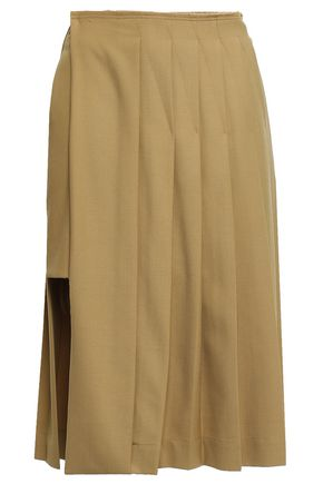 ROKH Layered pleated twill skirt