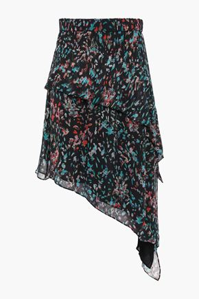 IRO Asymmetric floral-print georgette mini skirt