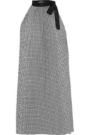 TOME Pleated grosgrain-trimmed checked woven tunic