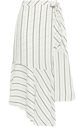 JOIE Asymmetric striped crepe de chine midi wrap skirt