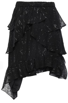 IRO Ruffled metallic fil coupé silk-blend mini skirt