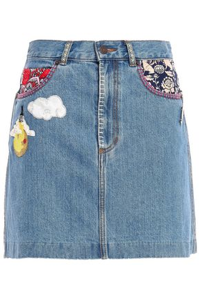 MARC JACOBS Appliquéd denim mini skirt