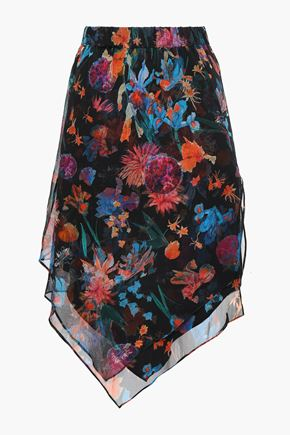 IRO Pretty asymmetric layered floral-print silk-georgette skirt