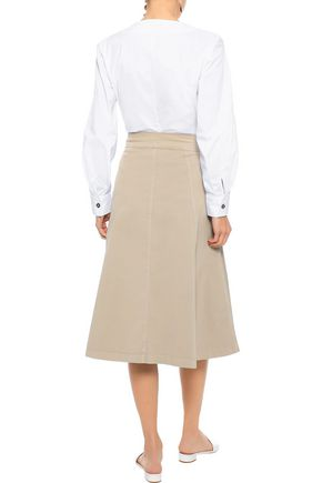 IRIS & INK Flared cotton-blend twill skirt