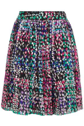 KATE SPADE New York Metallic fil coupé silk-blend mini skirt