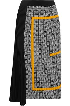 GIVENCHY Asymmetric pleated printed silk crepe de chine midi skirt