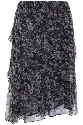 IRO Shirred printed georgette skirt