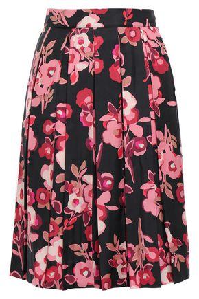 KATE SPADE New York Pleated floral-print silk-twill skirt