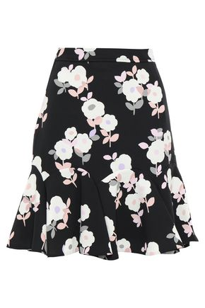 KATE SPADE New York Fluted floral-print crepe mini skirt