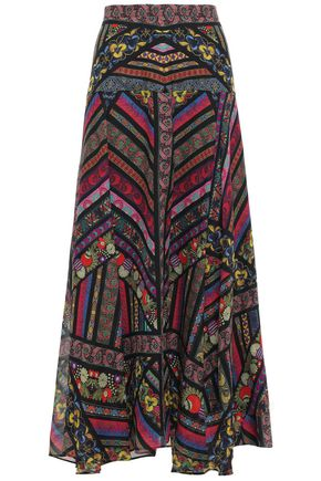 ETRO Printed silk-georgette midi skirt