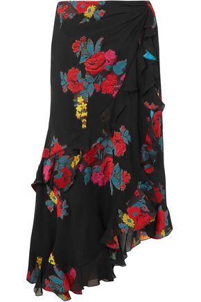 ETRO Asymmetric floral-jacquard midi skirt
