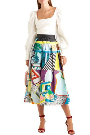 Mary Katrantzou Skirts MARY KATRANTZOU WOMAN BOWLES PRINTED STRETCH-COTTON MIDI SKIRT MULTICOLOR