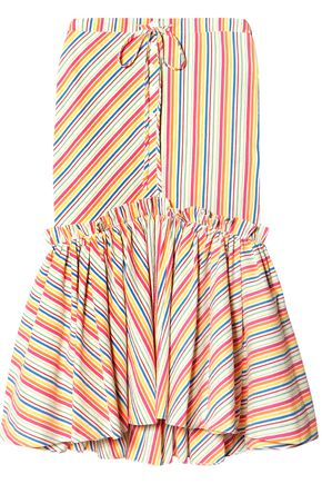 ROSIE ASSOULIN Fluted striped cotton-blend seersucker midi skirt