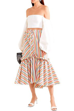 Rosie Assoulin Woman Fluted Striped Cotton-Blend Seersucker Midi Skirt Ecru