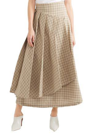 A.W.A.K.E. Pleated checked cotton midi skirt