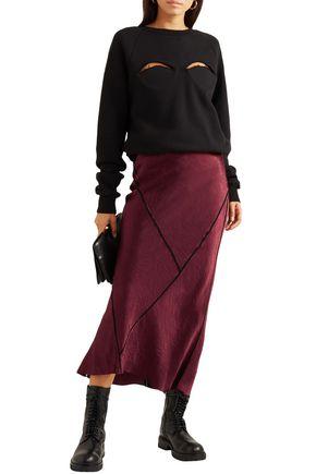 Ann Demeulemeester Crepe-trimmed Crinkled-satin Midi Skirt In Burgundy
