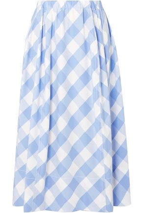MARNI Gingham cotton-poplin midi skirt
