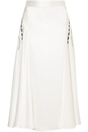 VICTORIA BECKHAM Printed silk-satin midi skirt